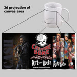 Johnny Cash with Slices of Art that Rocks and logo - 11 oz Ceramic mug